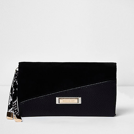 Black mixed texture foldover purse