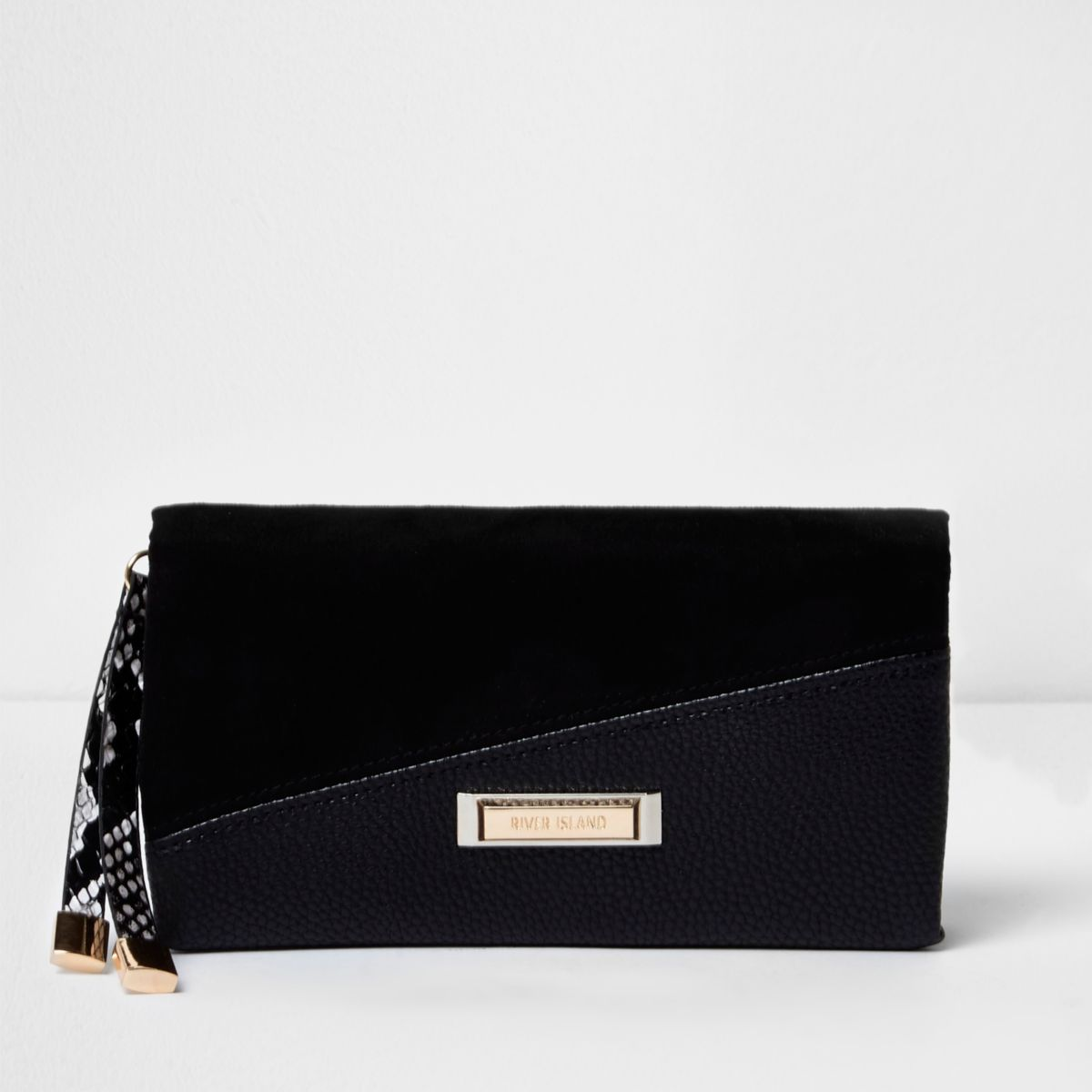 Black mixed texture foldover purse
