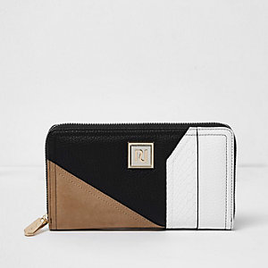 Beige color block zip around purse