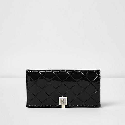 Black patent quilted slim foldover purse