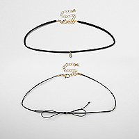 Collier ras-de-cou double rang à strass noir style cravate texane