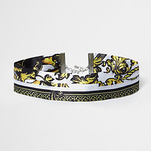 Black royal print satin look choker