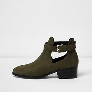 Khaki green cut out ankle boots
