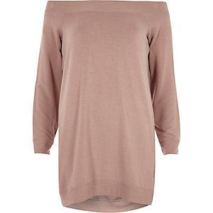 Pink bardot oversized sweatshirt