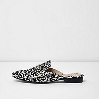 Silver leopard print backless loafers