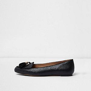 Schwarze Loafer mit weiter Passform