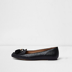 Black snakeskin tassel wide fit loafers