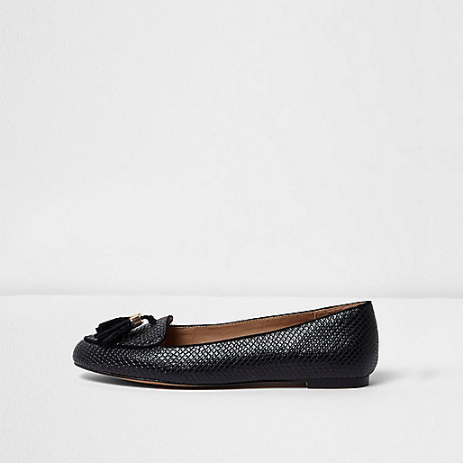 Black snakeskin tassel wide fit loafers