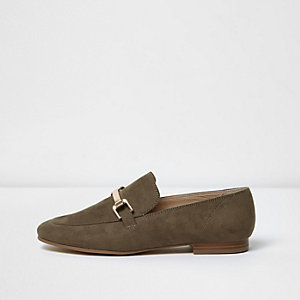 Khaki slip on loafers