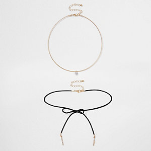 Gold tone diamante two row bolo choker set