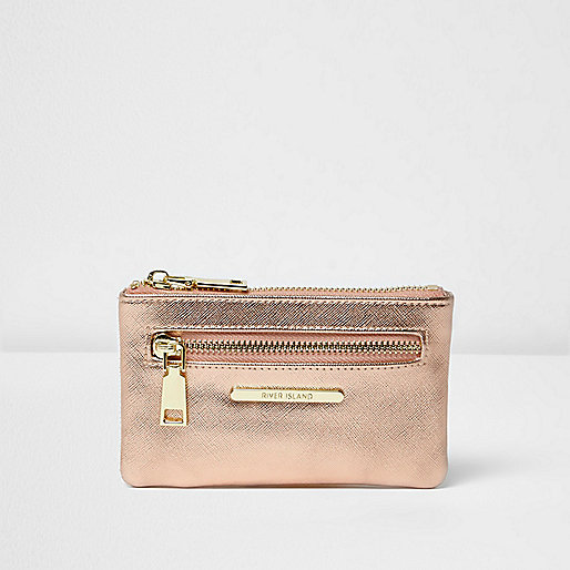 Rose gold tone zip front purse