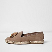 Beige wide fit tassel espadrille loafers