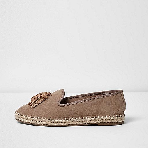Beige wide fit tassel espadrille loafers