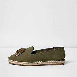 Khaki green wide fit tassel espadrilles