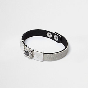 Grey rhinestone and stud bracelet