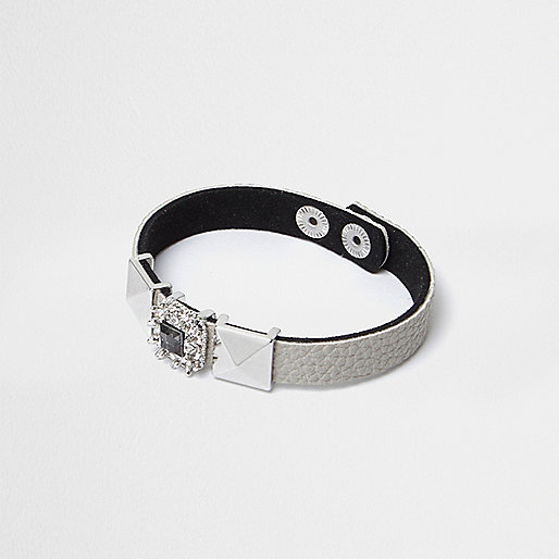 Grey diamante and stud bracelet