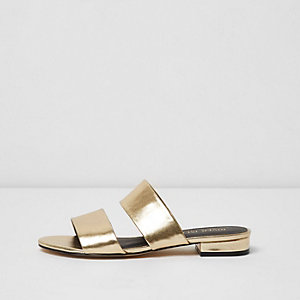 Gold faux leather two strap wide fit mules