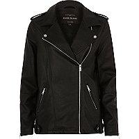 Black faux leather longline biker jacket