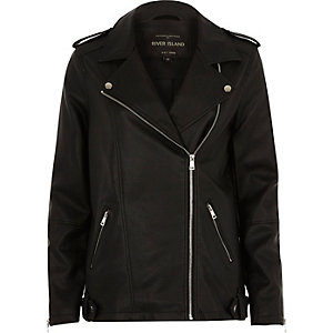 Black faux leather longline biker jacket