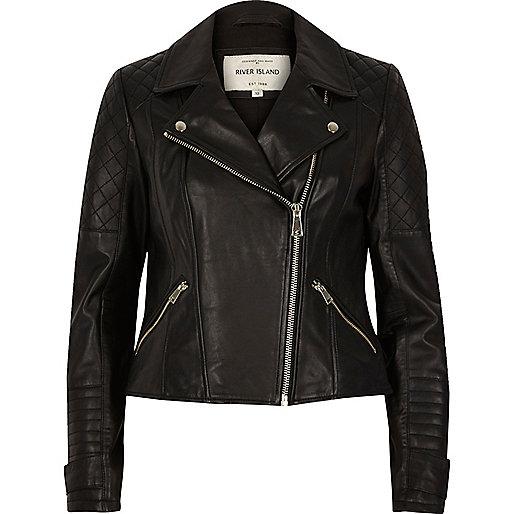 Black leather quilted biker jacket