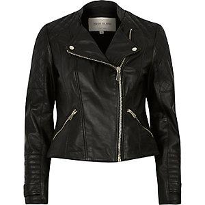 Schwarze, gesteppte Bikerjacke aus Leder