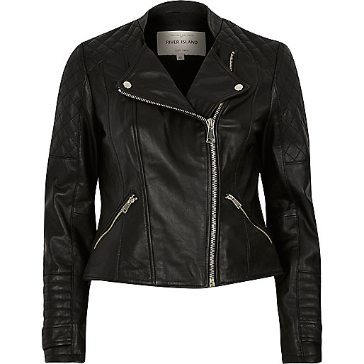 Black leather quilted collarless biker jacket