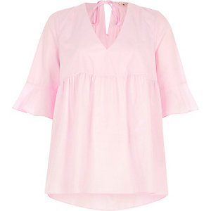 Light pink tie back smock top