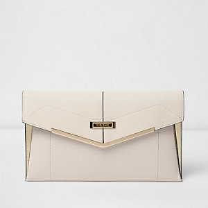 Cream envelope clutch bag