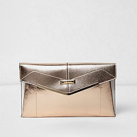 Rose gold envelope clutch bag
