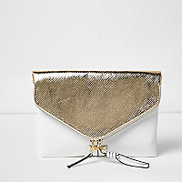 Gold and white envelope clutch bag