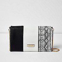 Black snake print and monochrome clutch bag