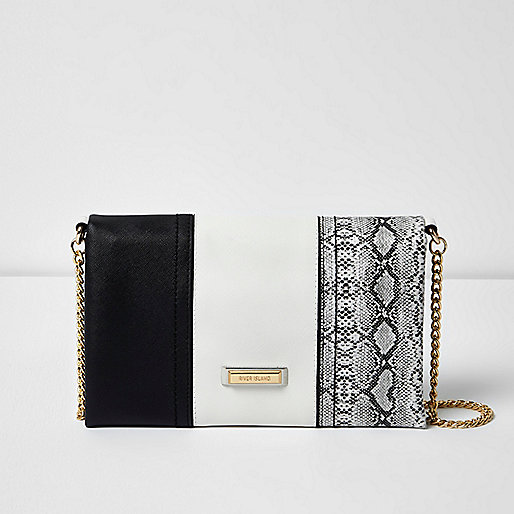 Black snake print and monochrome clutch bag