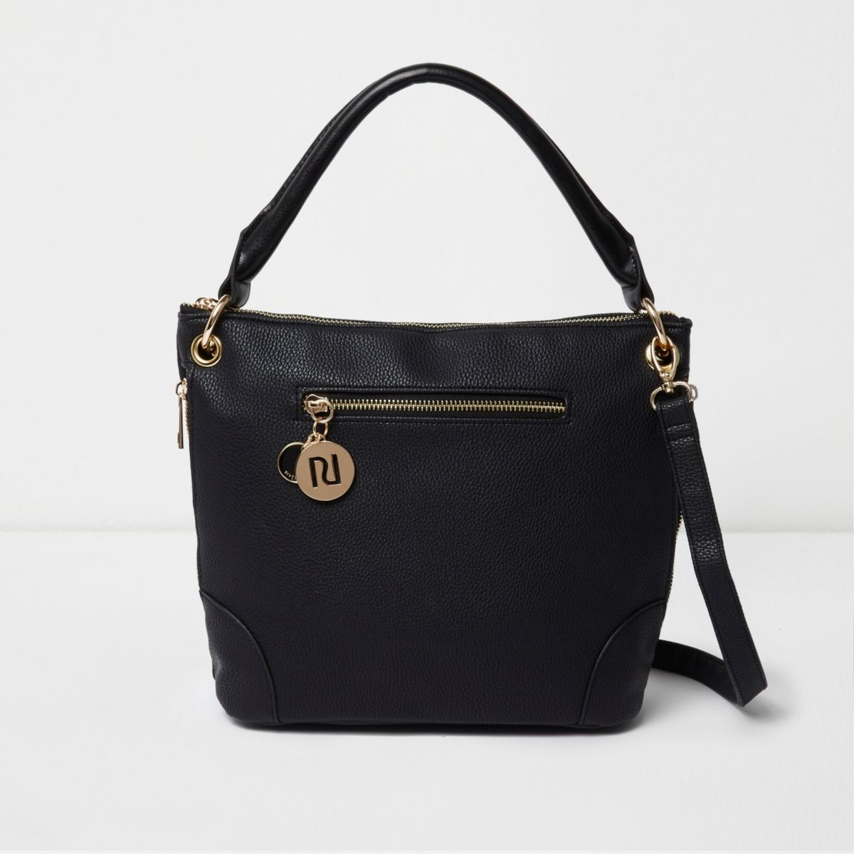Black underarm bucket bag
