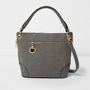 Grey faux suede bucket bag