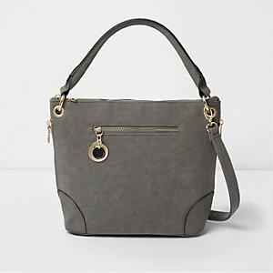 Tasche in Grau aus Wildlederimitat