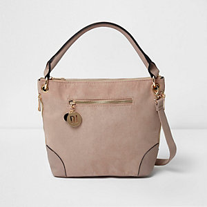 Nude faux suede bucket bag