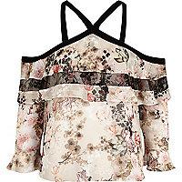Grey floral print lace chiffon top