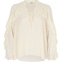 White metallic print frill blouse