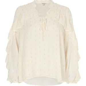 Wit metallic blouse met franjes en print