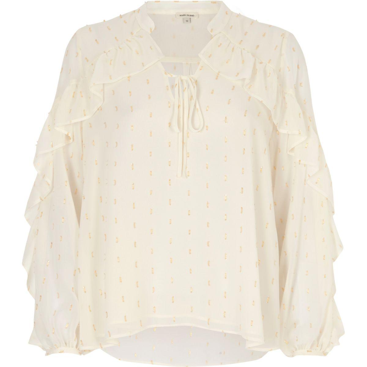 White metallic print frill blouse