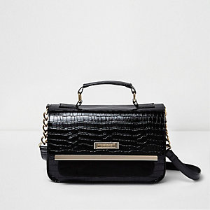Black crocodile effect mini satchel bag