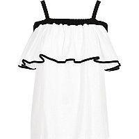 Black and white frill bardot top