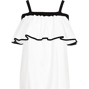 Black and white frill bardot top