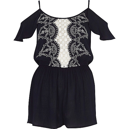 Navy embroidered cold shoulder beach playsuit