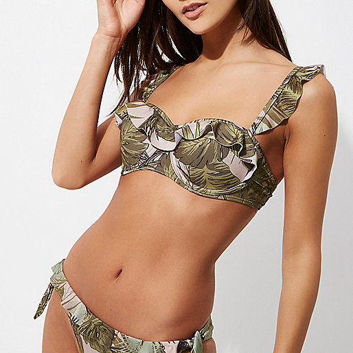 Green leaf print frill balconette bikini top