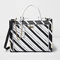 Black mono stripe cross body tote bag