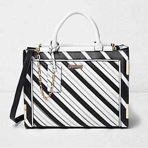 Schwarze Tote Bag mit Streifen