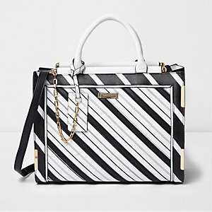 Black mono stripe cross body tote bag