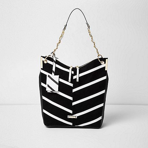 Schwarze, gestreifte Tasche