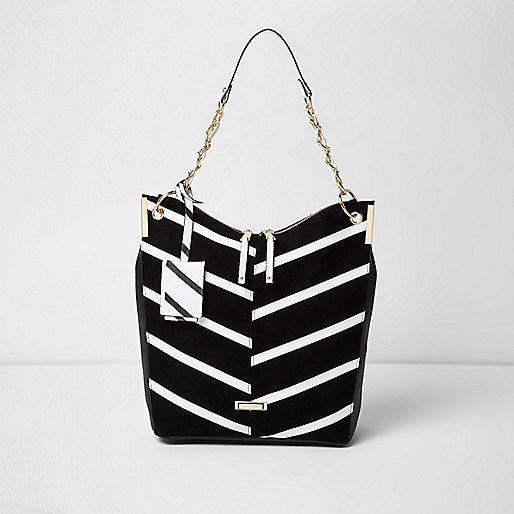 Black mono stripe underam slouch bag